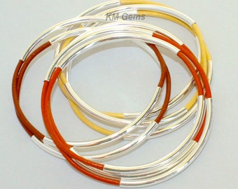 Custom 80 BULK Wholesale BANGLES - SILVER Double Tube Genuine Leather Bangle Bracelets - Pick Color / Size - Made in Usa 001