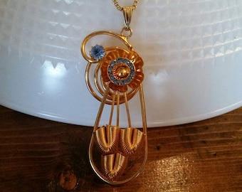 Unique Metal Coil Flower necklace