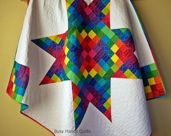 Modern Lap Quilt-Handmade Blanket-Throw Blanket-Throw Quilt-Sofa Quilt-Rainbow Quilt-Art Quilts-Handmade Quilt-Quilts for Sale-Ready to Ship
