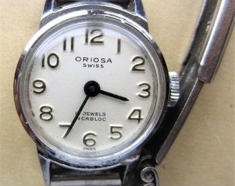 Ladies Vintage Swiss Oriosa SS Mechanical 17 Jewels Bracelet Watch for Sale