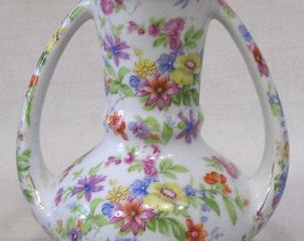 Vintage Vase Goldcastle Japan Chintz Type Floral Decor Two Handles Very Colorful
