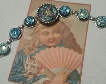 ANTIQUE BUTTON Bracelet      INSECT Colorful Czech Glass Gorgeous Blues