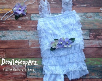 Lace Romper, 3 to 9 Month Size, Headband, Sash, Baby Girl, White, Pink, Floral headband and sash set, 6 Month Photo Prop, RTS