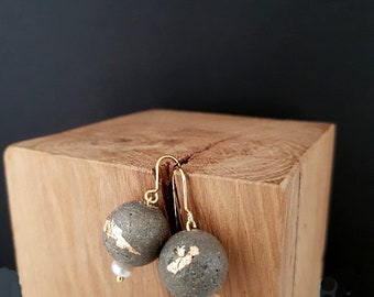"Concrete earrings, contemporary jewelry, ""P' precious little..."""