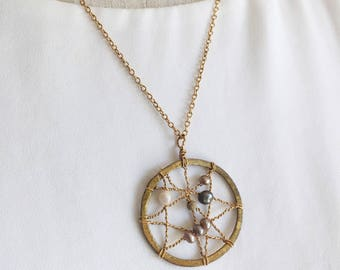 14k Gold Filled Dreamcatcher Necklace, pearl, gold, layering necklace, boho, bohemian style