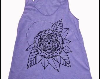 Women's Gypsy Flower Mandala Tank Sacred Geometry Tattoo Style Burnout