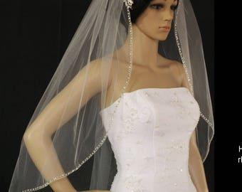 wedding veil white or ivory same style-metal comb