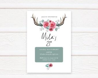 Birthday Invitation, Printable, Birthday Invitation, Floral Birthday Invite, 21st