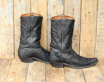 10 black snip toe boot snip toe western snip toe cowboy cuban heel boot black suede boot stove pipe boot USA Western Boot