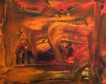 Original Acrylic Wrapped Canvas Piece by C Tull Dark Cavern