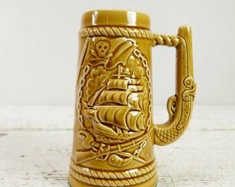 Vintage Pirate bateau bière Mug Stein pistolet en céramique poignée pistolet navire marin voilier Japon