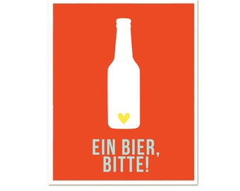 Ein Bier, Bitte 8 x 10 One Beer, Please funny poster wall decoration SALE buye 2 get 3