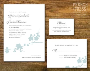 Tree Branch Wedding Invitation Suite, Personalized Instant Download, Printable DIY