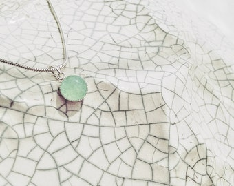 Green Aventurine Quartz Necklace on a Sterling Silver Snake Chain // Delicate and Dainty Crystal Pendant