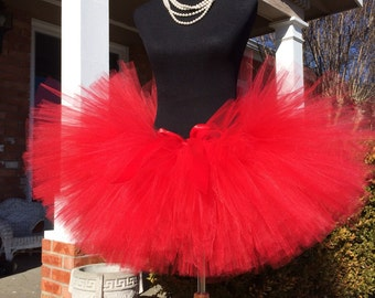 """Red Adult Tutu for waist up to 34 1/2"""" great for Halloween, Birthdays, Dance and Bachelorette parties"""