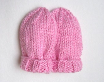Baby Girl Pink Hand Knit Mittens in Infant Size 6 to 12 Months, Kid Warm Winter Clothing, Handmade Classic Baby Shower Gift, No Thumb Mitts