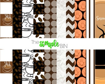 Coffee Scrapbook Paper - Digital Scrapbook Paper - Digital Paper Pack - Commercial Use Approved
