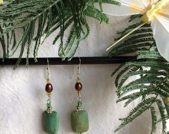 Earrings Pearls Sterling Silver Green Natural Jade