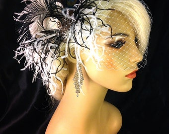 Fascinator, Bridal Feather Fascinator, Bridal Fascinator, Fascinator, Bridal Headpiece, Bridal Veil, Wedding Veil, Black and White