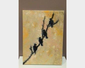Original Oil Canvas Painting, Birds, Home Decor, Wall Art
