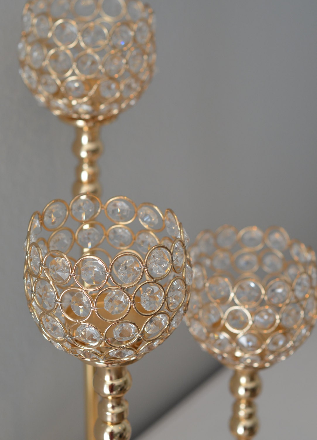 Gold bling candle holder gold rhinestone flower ball stand or for 7p decoration