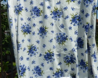 Canvas upholstery blue carnations * 3 m x 148 cm * France old stock