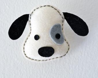 Wool Felt dog brooch/ Felt pin/ Felt accessory in white color, Felt Ornament, Christmas Gift
