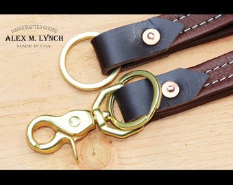 Brown leather keychain duo - leather keychain - Free Monogram hand stamped
