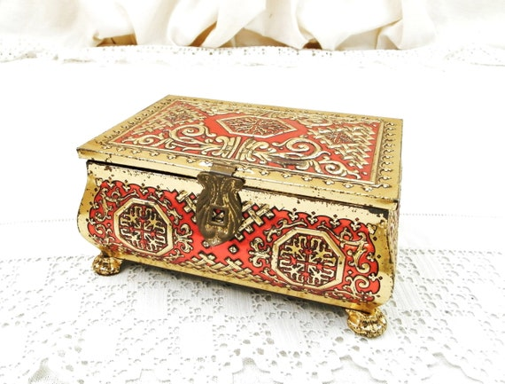 Vintage French Red and Gold Chinese Style Pattern Embossed Metal Cookie Tin, Retro 1960s Metal Biscuit Asian Motif Casket Box from France