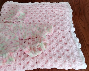 Pink Baby Blanket with White Trim