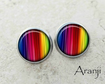 Rainbow stripe earrings, rainbow earrings, rainbow stud earrings, rainbow stripe stud earrings, rainbow post earrings, rainbow PA143E