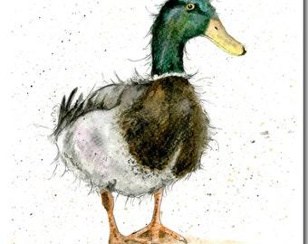 Mallard Duck Greeting Card - Bird Birthday Card, Duck Card, Watercolour