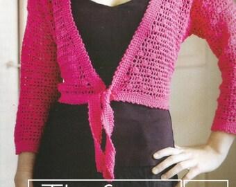 Instant Download - PDF- Pretty Tie Bolero Crochet Pattern  (AD53)