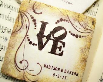 Love Park Personalized Wedding Gift Coasters, Personalized Wedding Coasters Set of 4 Bridal Registry, Wedding Registry
