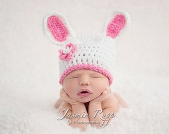 Easter Bunny Baby Hat - Baby Girl Hat White & Pink with Flower and Bunny Button 0-9 Months