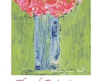 Pink Acrylic Flower Painting. Pink Roses Painting. Romantic Gift for Women. Original Greenery Floral Art Painting. 193