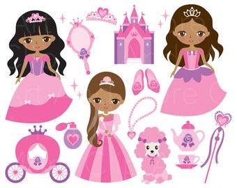 African American Princess Clipart Black Princess Clipart Dark Skin Princess Clip Art Brown Skin Princess Clipart Fairytale Princess Clipart