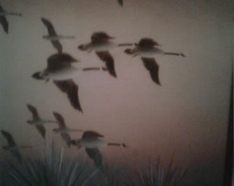Vintage Oil On Canvas/ Flying Geese/ Signed Nemeyer