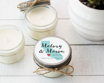 Wedding Favor Candles - State Silhouette Label Design | Soy Candle Wedding Favors | Personalized Wedding Favors | State Favors - Set of 12