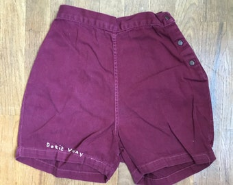 vintage 50s betty brooks brand sanforized cotton cranberry red high waist side snap shorts made in usa