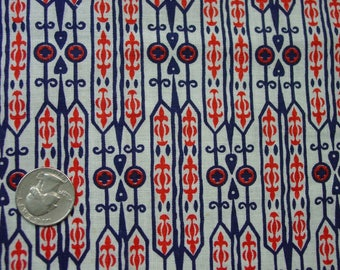 "Vintage Feedsack Fabric, Full Sack 37 x 40"" Red,White,Blue Modern Geometric Nice"