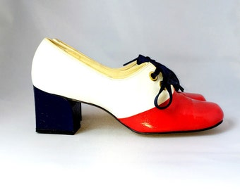 MOD 1960s Vintage Red White Navy Patent Leather Oxfords Size 5.5