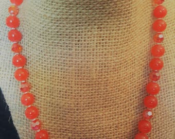 Absolutely Beautiful Vintage Orange Glass Beaded Necklace
