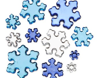 78 Pieces Acrylic Rhinestone Snowflakes - Mixed Color Package