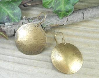 "brass earrings,brass dangles, brass ""full moon"" dangles,  handmade earrings, handmadejewelry, artisan jewelry, gifts for her,hypo allergenic"