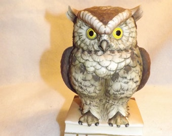 Vintage Owl Sitting on 2 Books Statue Figurine By Andrea Capsteam Epsteam FWB LOVE