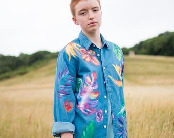 Hand Painted Tropic Organic Denim Shirt