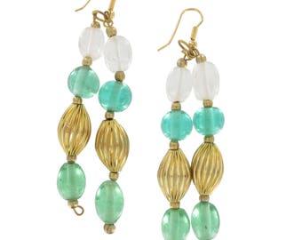 Vintage Aqua Blue Green Sea Glass Beaded Dangle Earrings Pierced Fish Hook