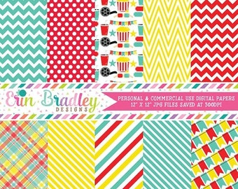 80% OFF SALE Movie Party Digital Paper Pack in Red Yellow & Turquoise Chevron Striped Polka Dotted Plaid and Bunting Patterns