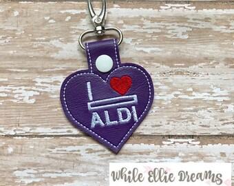 Aldi Keychain, I Love Aldi Heart, Aldi Quarter Keeper Aldi Key Chain Aldi Quarter Holder Snap Tab Key Fob Quarter Saver---70 Colors!  Aldi